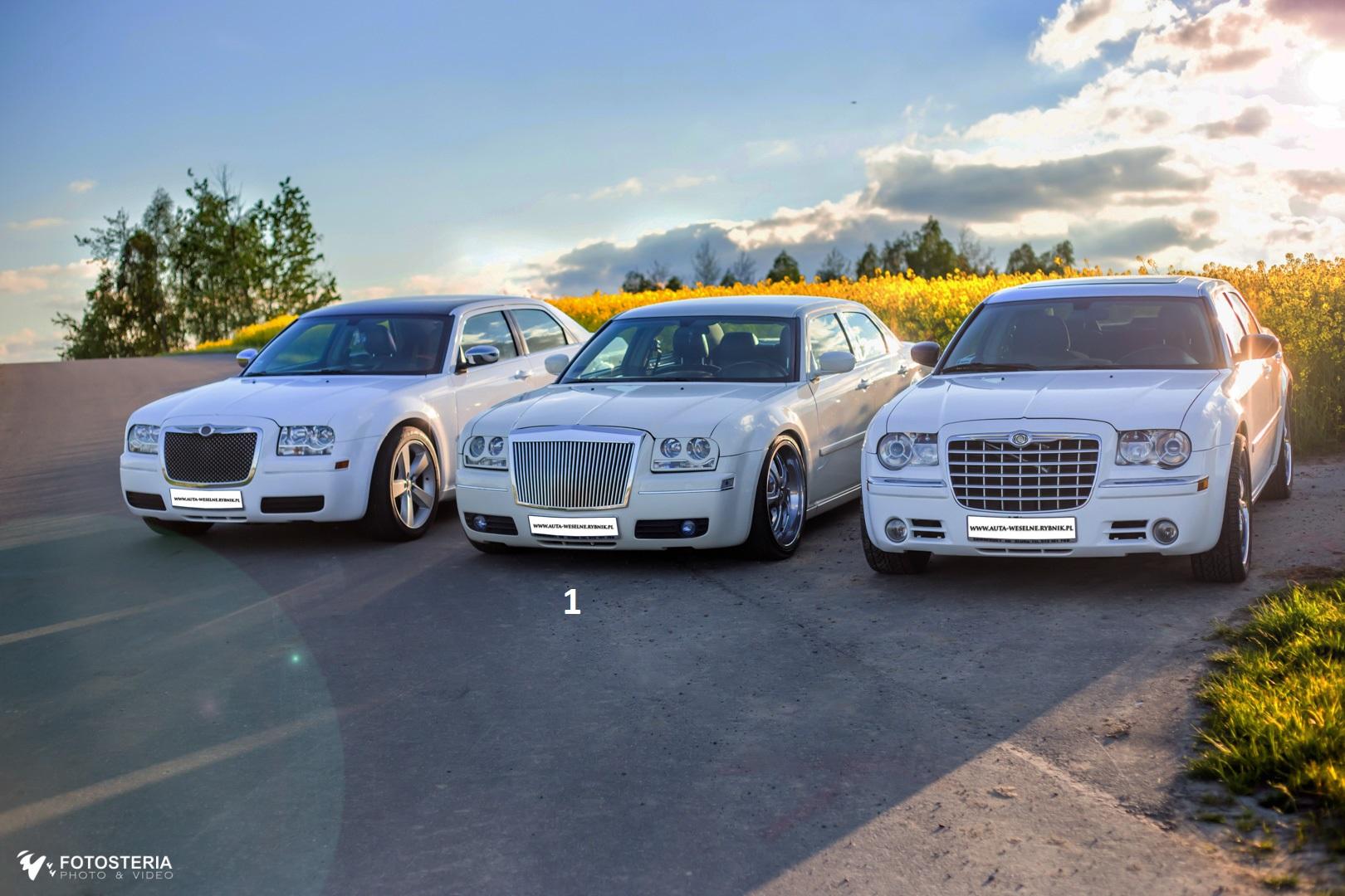 3 x biały i ecru Chrysler 300c na Twoje wesele, slub – Slaskie, Opolskie, Malopolska
